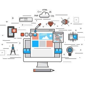 Thin line flat design of website building process